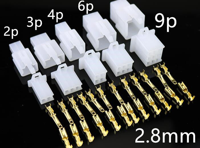5set / Lot 2.8mm2 3 4 6 9 Pin Automotive 2.8 Electrical Wire Connector Male Female Cable Terminal Plug Kits Motorcycle Ebike Car