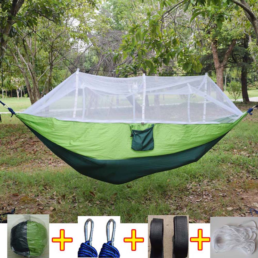 Hot Selling Portable Hammock Single-person Folded Into The Pouch Mosquito Net Hammock Hanging Bed For Travel Kits Camping Hiking 2 people portable parachute hammock outdoor survival camping hammocks garden leisure travel double hanging swing 2 6m 1 4m 3m 2m