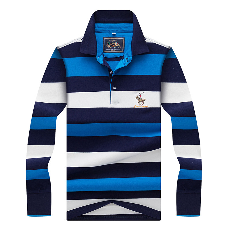 Brand Mens Polo Shirts Autumn Fashion Striped Cotton Fit Slim Business Causal Long Sleeve Polo Shirts Men Polo Homme 3XL AF8803