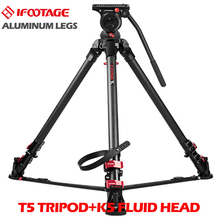 IFOOTAGE Wild Bull T5 Aluminum Legs Skilled Tripod Stand with IFOOTAGE KOMODO K5 Fluid Head for GH5 5D A7S DSLR Digicam Rig
