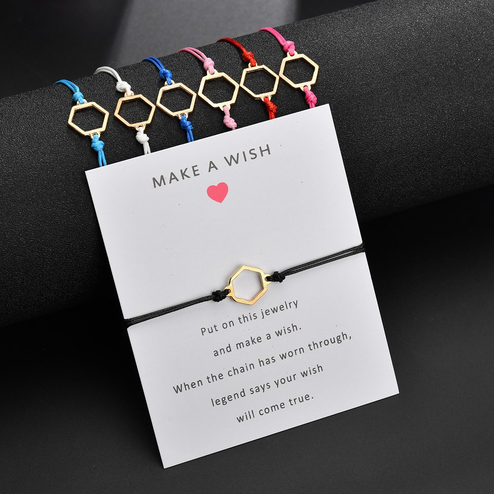 Make a wish Card Polygon Bracelet Anniversary Wedding Red String Adjustable Rope Paired Couple Bracelets Set