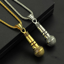Fashion Style Best Friend Microphone Necklace & Pendant Men/Women Alloy Gold Color Silver Color Jewelry Rock Hip Hop Chain Colar(China)