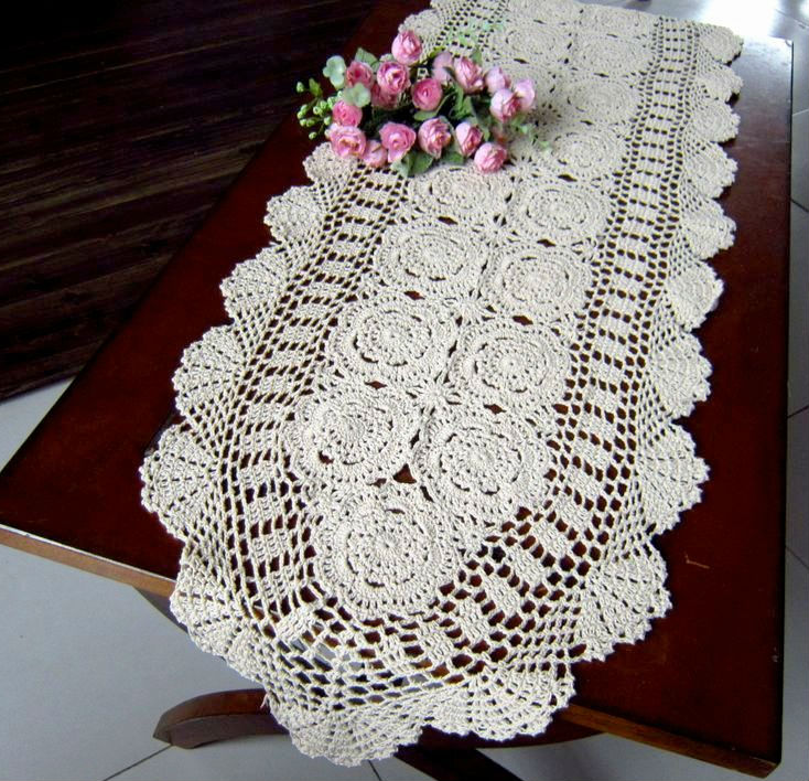 40x160cm15x63 Inches Sale Vintage Hand Crocheted Table Runner
