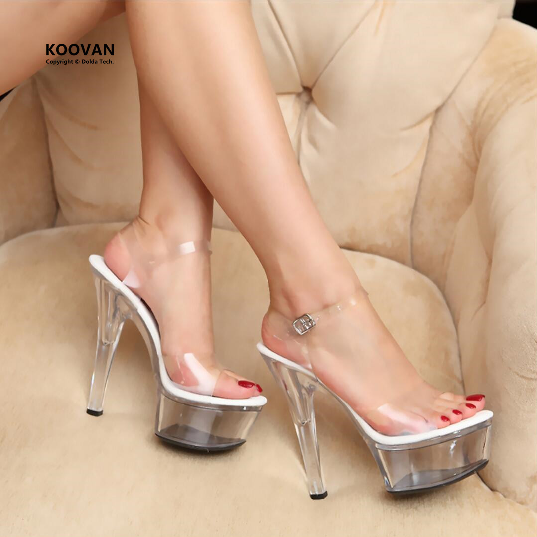 ФОТО Koovan Women Pumps 2017 new Catwalk required Transparent Glass Woman Sandals Ultra High Heels Shoes 15cm Large Size 34-44