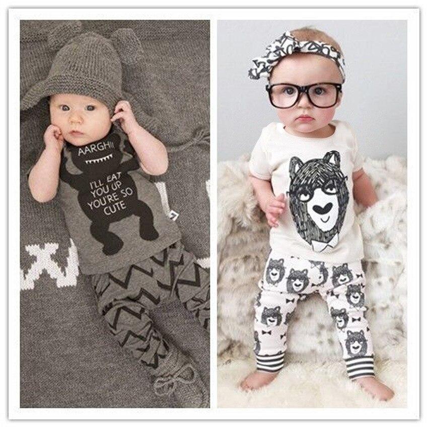 Новинка, лето 2016 г. Стиль Одежда для младенцев хлопковые для маленьких детей с короткими рукавами для мальчиков и девочек + Штаны детские наб...