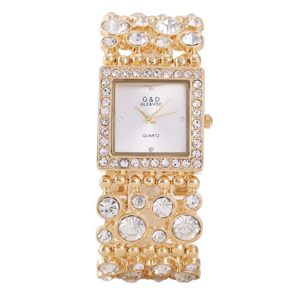 Dameshorloges 2017 Mode G & D Merk Luxe Gouden Kristal Armband - Dameshorloges