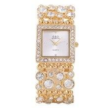 Kvinnor Klockor 2017 Fashion G & D Brand Luxury Gold Crystal Armband Klockor Ladies Stål Quartz Armbandsur Kvadratiska Klockor Klockor