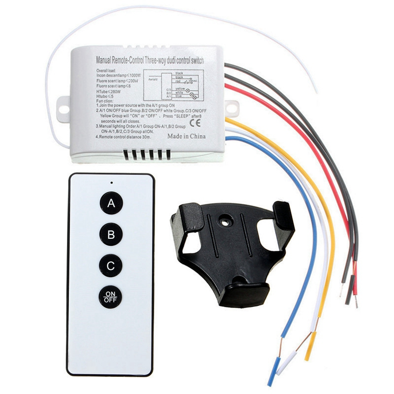 High Quality 3 Way Port ON/OFF Wireless Digital RF Remote Control Switch Receiver Transmitter For Light Lamp 220V купить