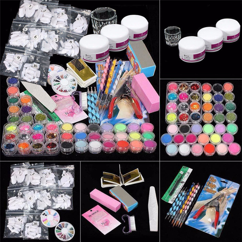 High Quality 37 In 1 Nails Set Professional Acrylic Glitter Color Powder French Nail Art Deco Tips Set Nails Art sets for women 1000g 98% fish collagen powder high purity for functional food