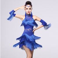 Latin Dance Dress Women Fringe Dress Dress&Gloves&Earrings Competition/Practice Cha Rumba Samba Salsa Dance Dress Great Gatsby