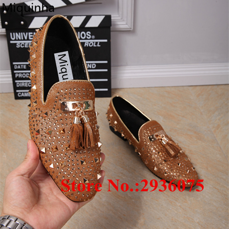 Mens Brown Black Suede Leather Crystal Spikes Studded Tassel Embellished Loafers Fringe Strass Slip-On Flats Casual Mens Shoes black and bule suede red bottom luxury mens loafers new france brand slip on spikes shoes
