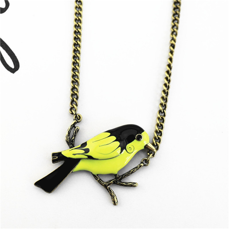 Vintage retro style bronze bird charm necklace