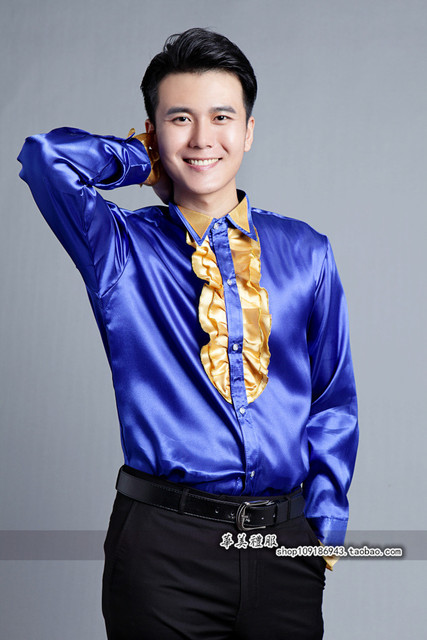 Men s glittering sequined shirt shirt stage performance clothing dance gala  hosted chorus SHIRTS bd5348f8b6a9