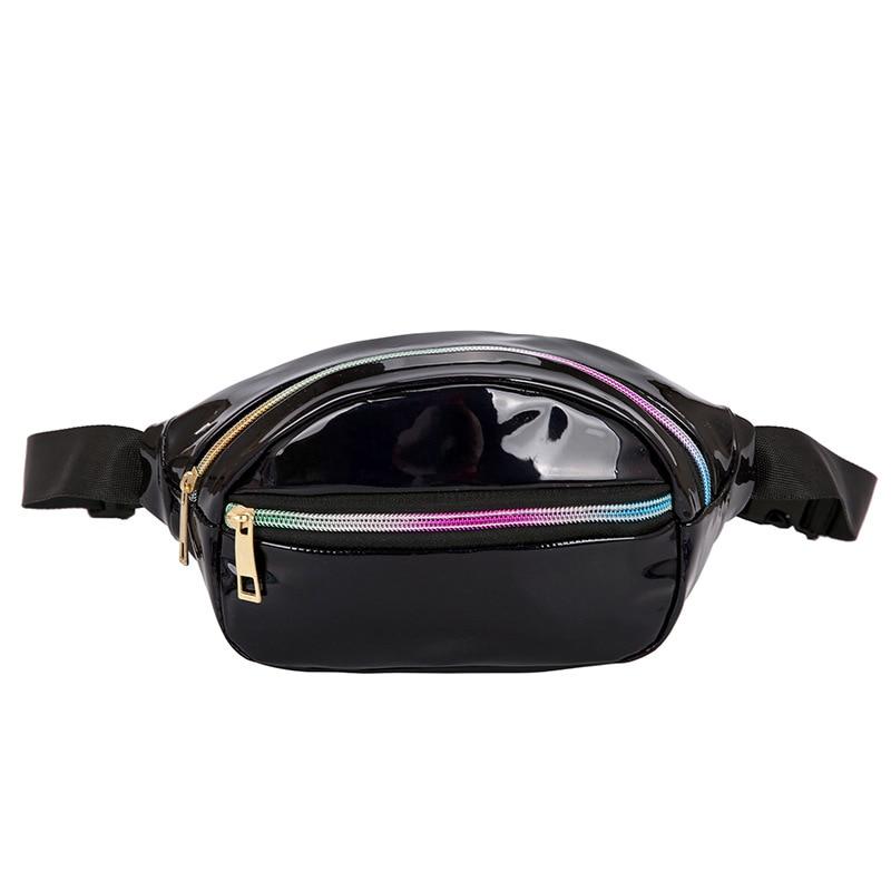 Laser Waist Bags Women Fanny Pack Belt Bags Solid Punk Holographic Bum Bags Waist Pouch 2019 New