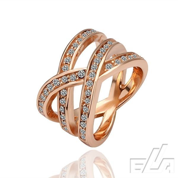 SALE Good quality Austrian crystal Plated real 18K rose gold jewelry rhinestone Rings for women wholesale