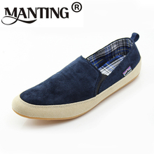 24.5-27.5cm Flats men Canvas shoe Solid Round Toe Summer Fashion trends Leisure men's shoes Elastic band Comfortable breathable