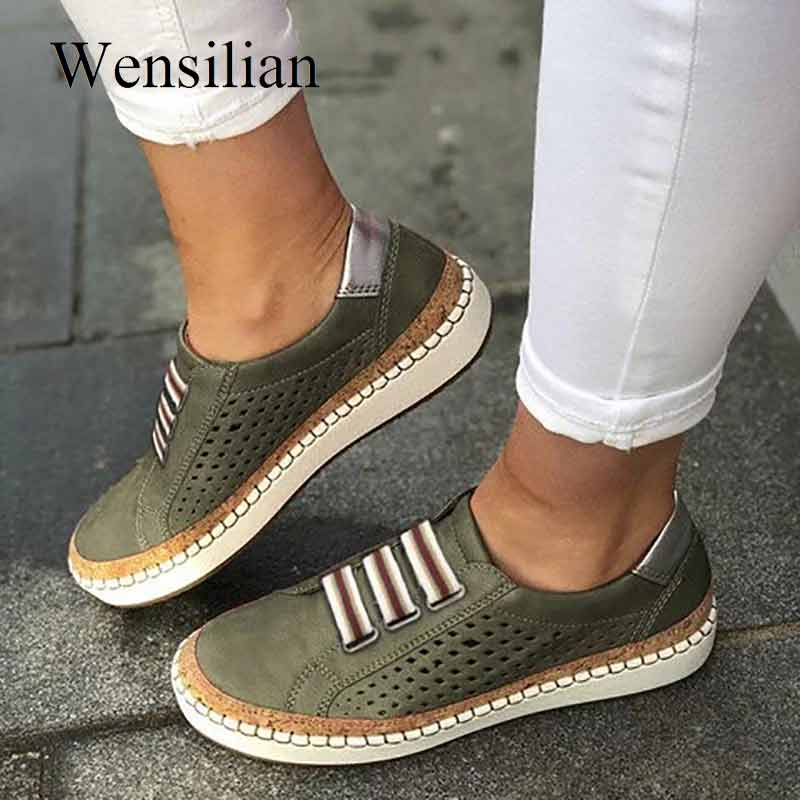 Flat Shoes Women Sneakers For Women Oxford Shoes Vintage Ladies Casual Slip-on Leather Loafers Espadrilles Mocassin Femme 2019
