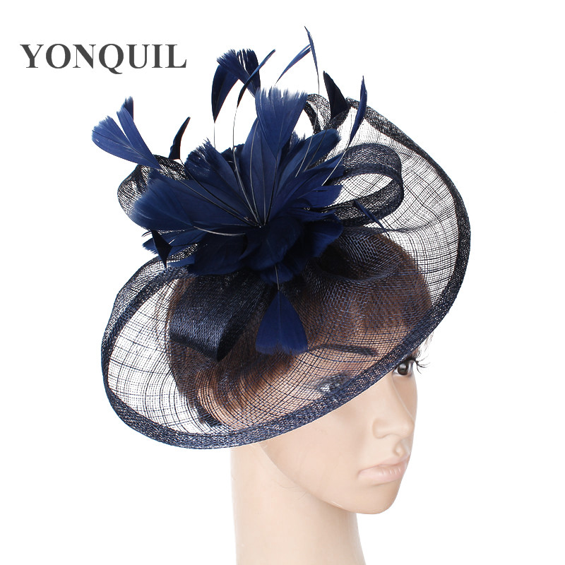 NEW NAVY BLUE HOT Sinamay Fascinators Hat with feather for Wedding Kentucky Derby Ascot Races Melbourne Cup church FREE SHIPPING