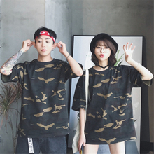 Summer Mens Round Collar Camouflage Short Sleeve T-Shirt Military Green Print Casual Loose Sports Top