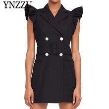 YNZZU 2019 Autumn ruffles black women blazer Double breasted with belt slim ladies waistcoat dress Chic Vest coat YO832
