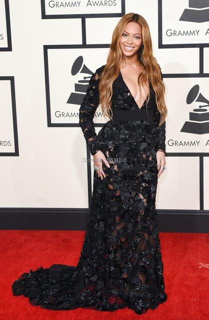 f2a423363c9a 2015 Grammy Awards Beyonce Celebrity Dresses Black Flower Sequins Lace Mermaid  Dress Secy Deep V Long