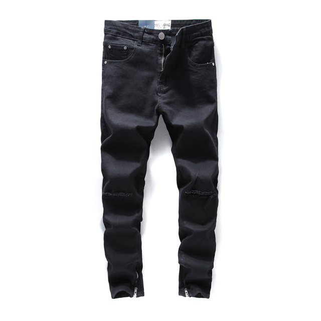 583a455ddd5071 Colore nero Zip Alla Caviglia Jeans Uomo Skinny Fit Tratto Elastico Foro  ginocchio Jeans Strappati Per