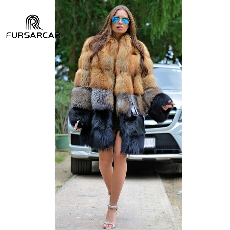 FURSARCAR 80CM Long Natural Real Fox Fur Women Winter Genuine Leather Female Jacket 2018 NEW Thick Gold Fox Fur With Fur Collar