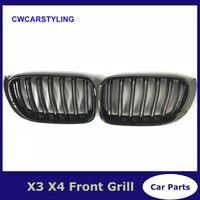 X3 F25 Grade Dianteira X4 F26 ABS Frente Rim Dupla Slat Malha Grille para BMW 2014 + X Série SUV x3 F25 e X4 F26 Gloss Black|Grades de corrida| |  -