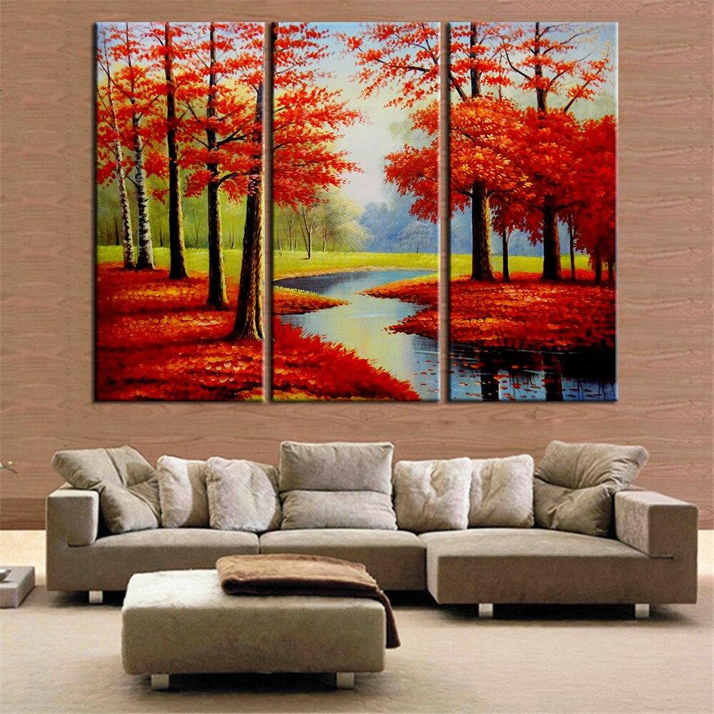 Φ_Φ3 unidades pintura al óleo árbol rojo posters e impresiones ...