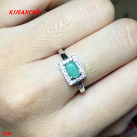 KJJEAXCMY Fine Jewelry 925 Sterling Silver Inlaid Natural Emerald Woman Ladies Ring Live Mouth Color Treasure