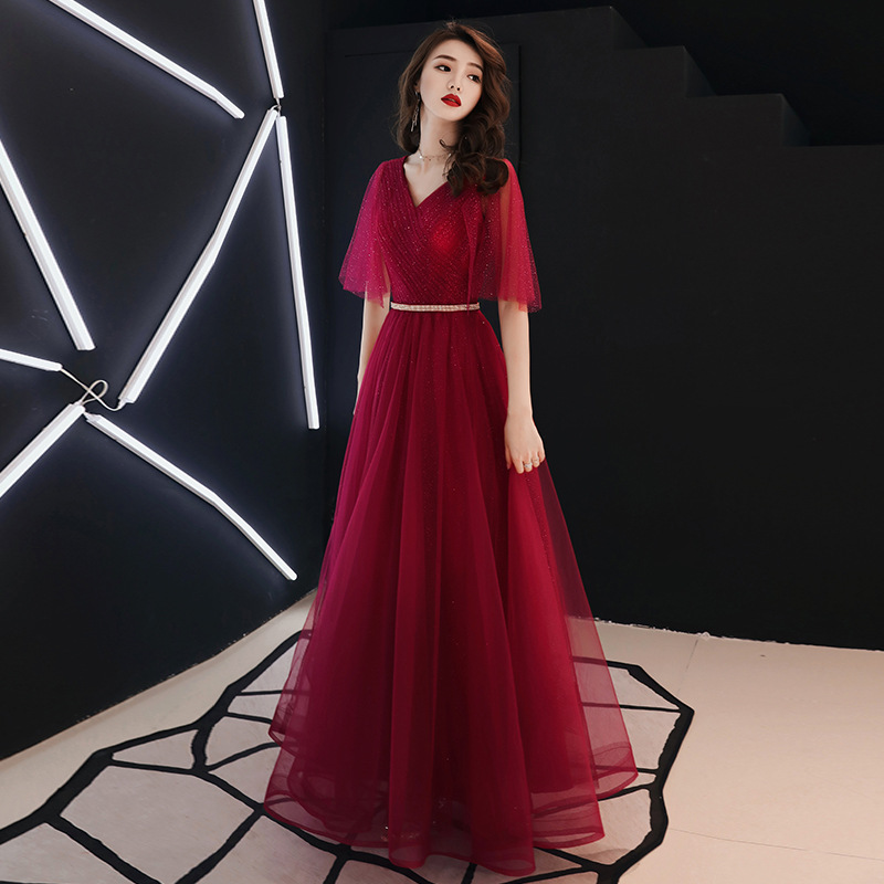 Long Rose red Evening Dress 2019 V-Neck Backless A line Robe De Soiree longue Formal Dress abiye gece elbisesi