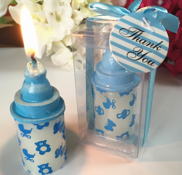 Its a boy baby shower decoration kits small size blue baby bottle its a boy baby shower decoration kits small size blue baby bottle candle shower favor gift negle Gallery
