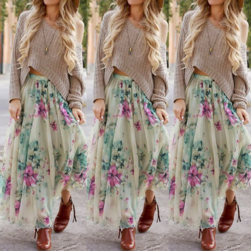Vintage-BOHO-Women-Floral-Summer-Beach-Party-Long-Maxi-Skirt-Sundress-Mini-Dress