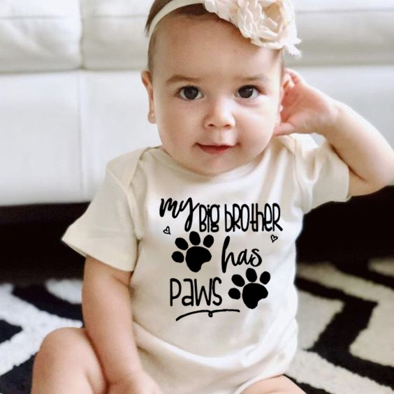 Summer Newborn Cotton Jumpsuit My Big Brother Has Paws Funny Infant Bodysuit Baby Boy Girl Kids Letter Print Playsuit Clothes