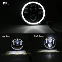 for Harley Sportster Iron 883 1200 Dyna Street Bob 5.75 Motorcycle H4 Hi Lo Beam 5 3/4 LED Headlight with Angel eyes Halo Ring