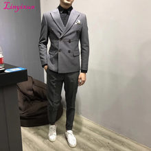Linyixun 2018 new Custom men Herringbone British style custom made Mens suit slim fit Blazer wedding suits for men(China)
