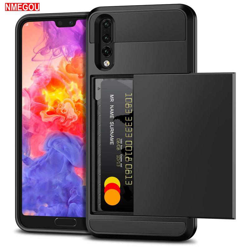 Armor Slide Wallet Credit Card Slot Phone Case for Huawei P20 <font><b>Lite</b></font> P30 Pro Mate 10 <font><b>Lite</b></font> P Smart 2019 <font><b>Honor</b></font> 7x <font><b>7</b></font> 6 Bumper <font><b>Covers</b></font> image