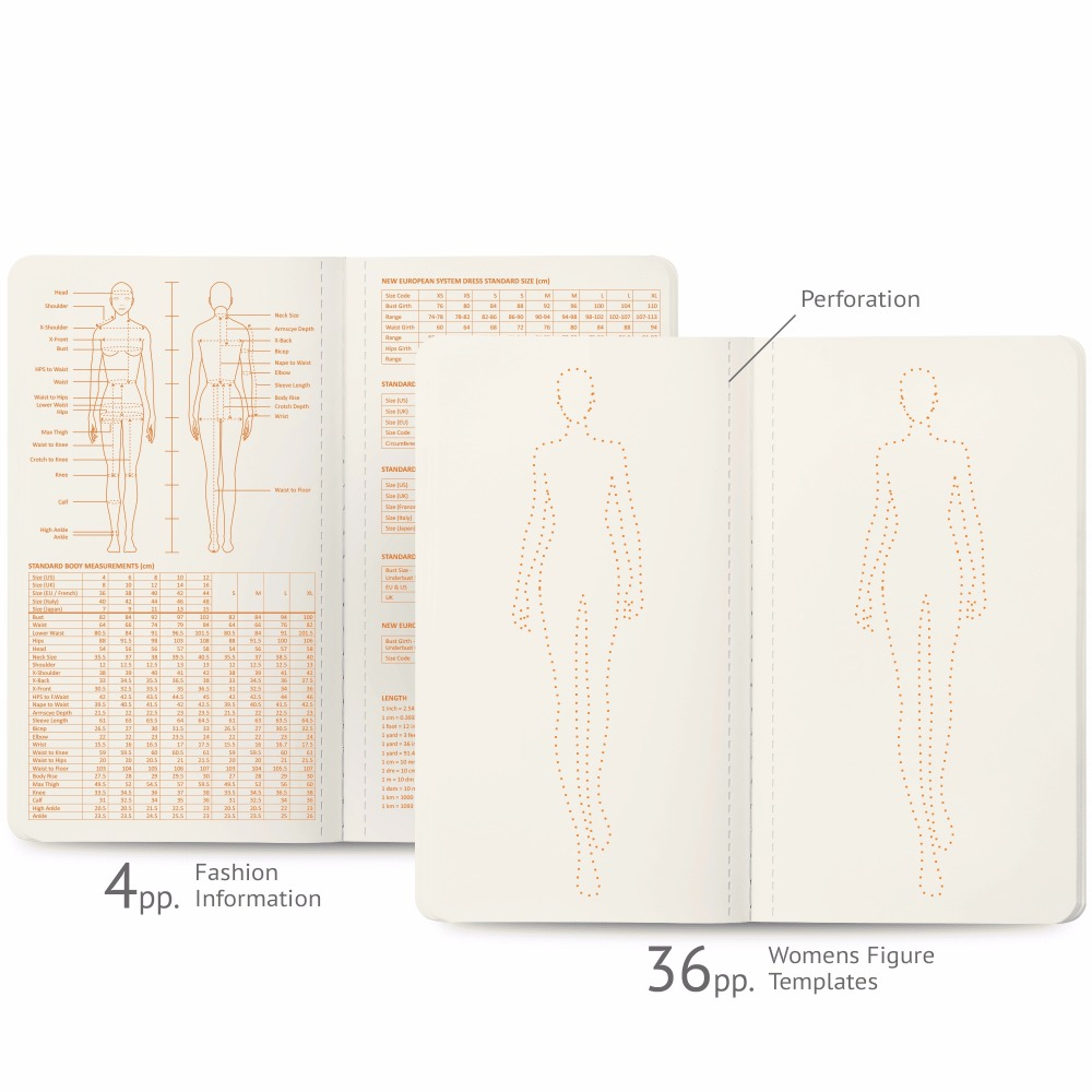 Womens Mini Felt Sketch Book Fashion Dictionary and Womens Figure Templates Mode Schets Boek Sketching on our Palm 9*16cm