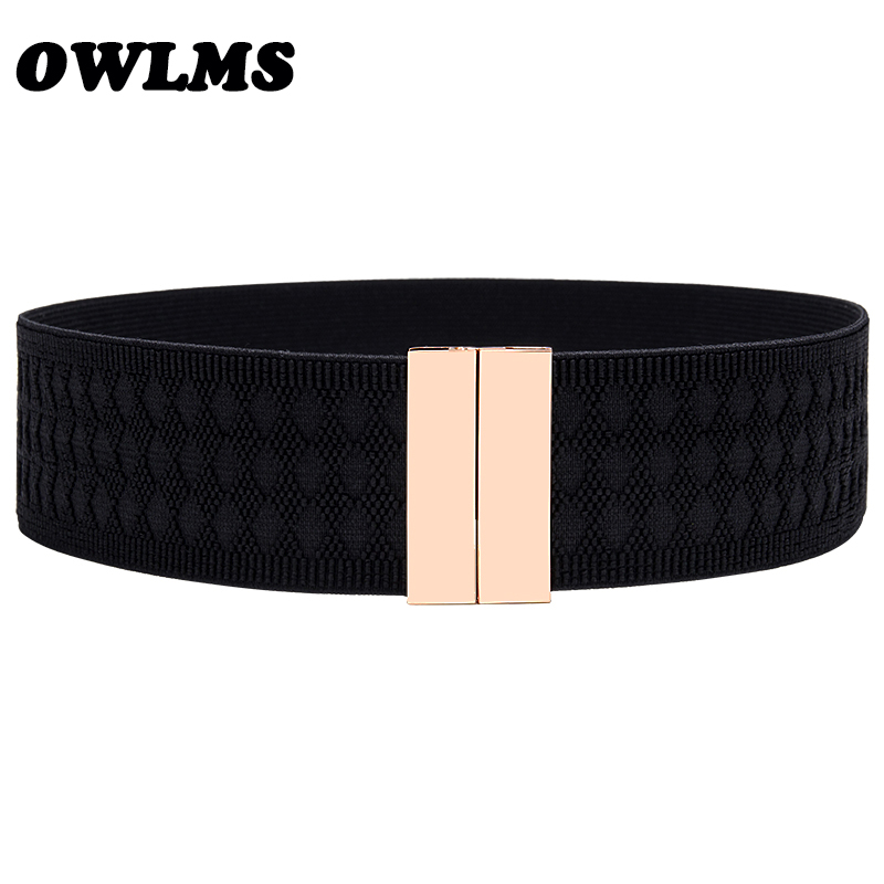 New Design Waistband Elastic Cummerbunds For Women Black Red Wide Cummerbund Dress Decorate Coat Gold Buckle Rectangle Silver