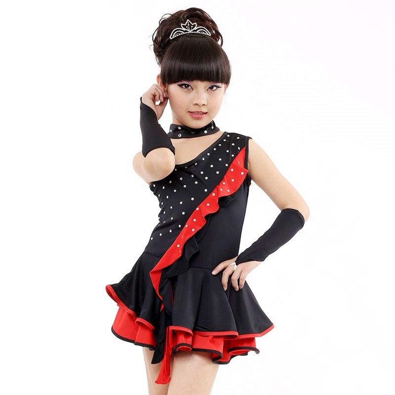 kids ballroom for tango skirts and dresses with diamonds lycra dancing latin dance skirt girls dress salsa for children clothes