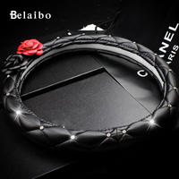 PU Leather Steering Wheel Cover To Cover Common Camellia New Upscale Car Steering Wheel Cover 38cm