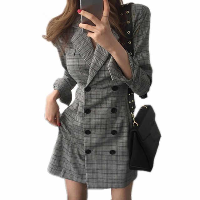 2018 Autumn New Women Blazer Dress Female Notched Long Sleeve Plaid  Business Dress Casual Bodycon Office d242f1c0e0f0