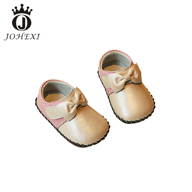 Fashion Butterfly-knot Genuine Leather  Girl Baby Princess Shoe High Quality Baby FirstWalker Outdoors Pink/Red/Gold 10.5-13 CM