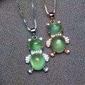 Природные пренит камень подвеска серебро 925 Природных драгоценных камней Ожерелье модный прекрасный большой Медведь девушки женщин ювелирные изделия