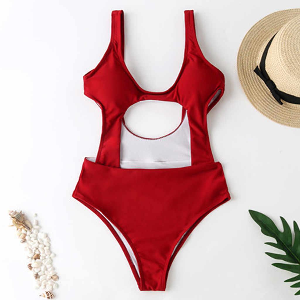 النساء ملابس السباحة 2019 قطعة واحدة ملابس السباحة رفع خمر الرجعية لباس سباحة لباس سباحة لشاطئ ارتداء زائد حجم ملابس السباحة