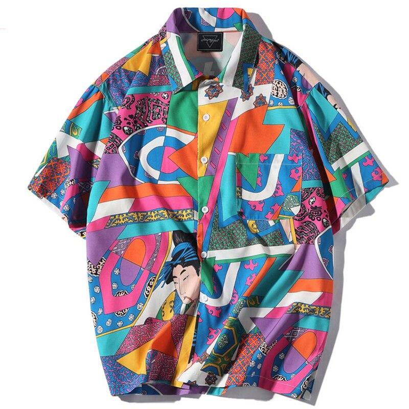 Aelfric Short Sleeve Shirt Men Hip Hop Japanese Streetwear Ukiyoe Casual Shirt Man Summer Fashion Soft Hawaiian Shirts He01 #3