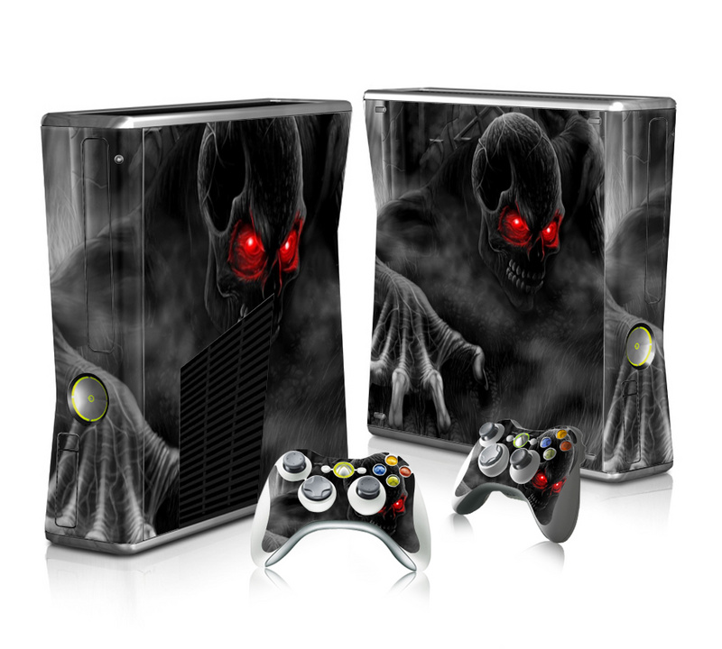 Black Skull Vinyl Decal Skin Sticker for Microsoft Xbox 360 Slim and 2 Controller Skins Sticker for Xbox 360 Slim Free Shipping