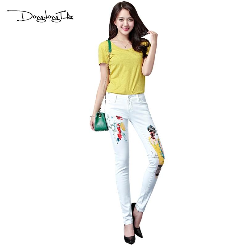 Dongdongta Yeni Kadın Kızlar Kot 2017 Orijinal Tasarım Beyaz Renk - Bayan Giyimi - Fotoğraf 3