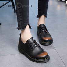 British Style Genuine Leather Oxfords For Women Martin Ankle Shoes Female Spring Autumn Casual Lace-Up Flats Shoes 34-44