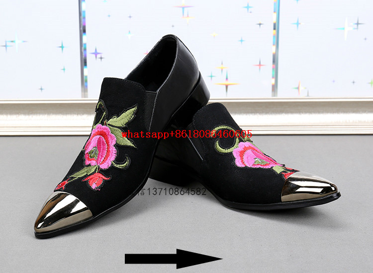 mens pointed toe dress shoes flower embroidery iron toe slip on loafers british style genuine leather shoes men luxury цены онлайн